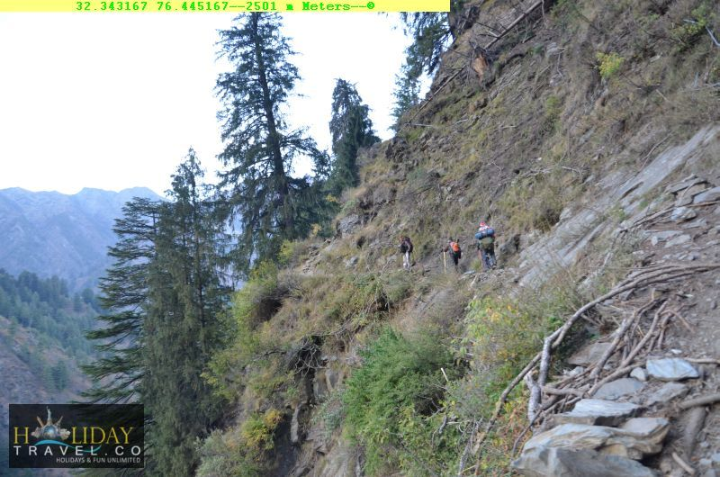 At2501meters-Scared-Trekkers-On-MounainTrail-Before-Quarsi-IndraharPass-From-ChaataParaoCamp-To-QuarsiVillage-Trek051