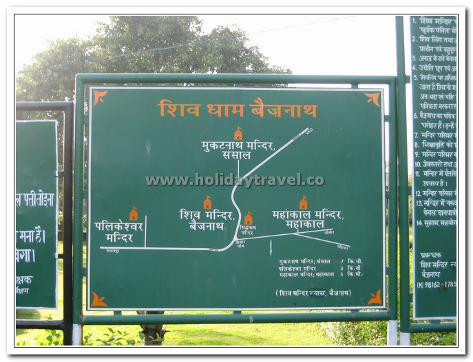 Direction Sign Board for Baijnath Temple Himachal