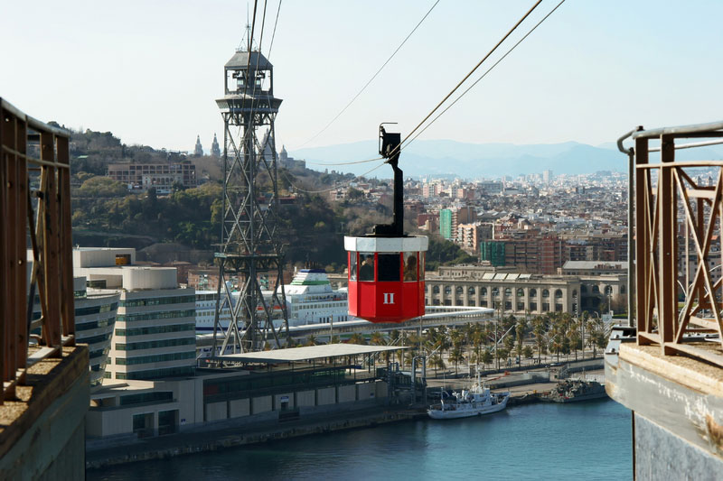 Cable car ride to Montjuic hill