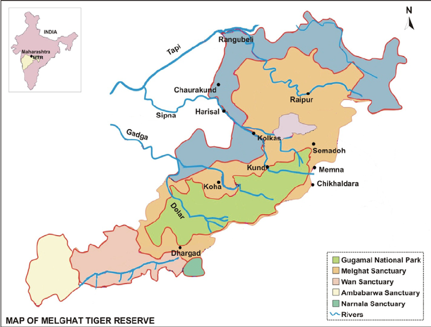 Melghat Tiger Reserve Map