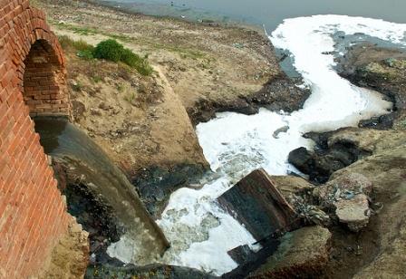 Industrial waste flowing in Ganga