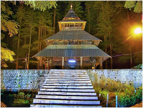 A Stunning Night View of Hadimba Temple Manali In Night