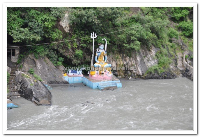 Shiva temle on the banks of ravi enroute for mani mahesh yatra