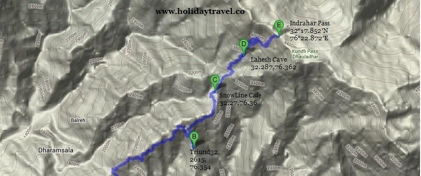 Mcleodganj_Triund_LaheshCave_IndraharPass_TrekMap_withCoordinates