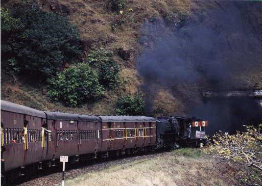 Mhow Kalakund Train entering tunnel