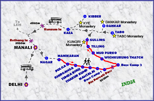 Parvati-to-pin-valley-Trekking-Map