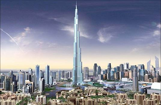 Stunning Dubai Visual of Downtown Dubai with backdrop of Burj Khalifa