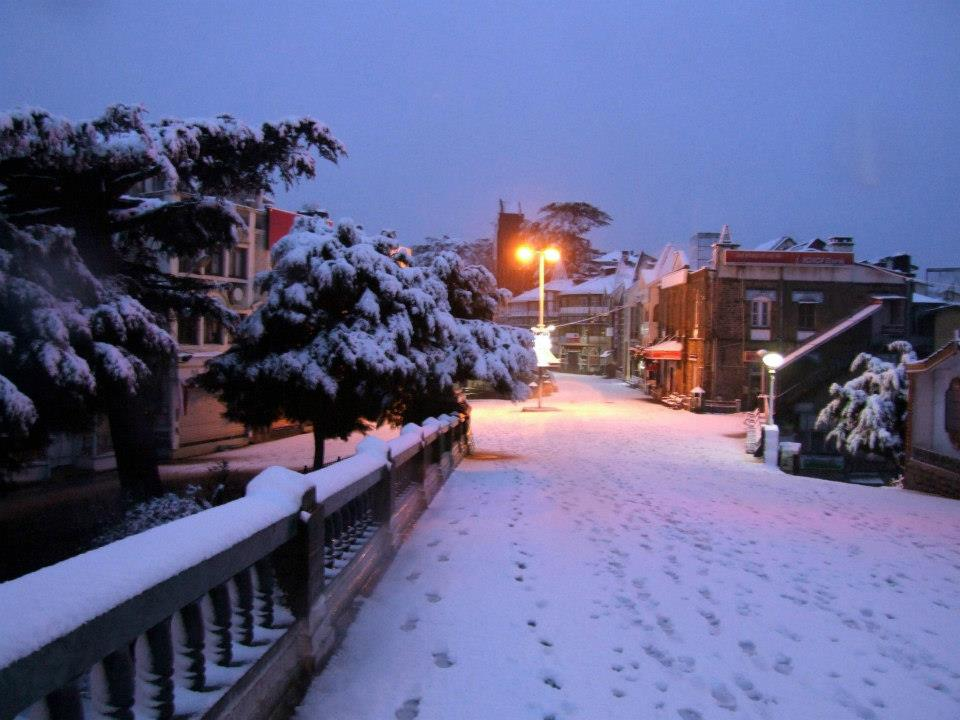 Snow Covered Mall road Shimla